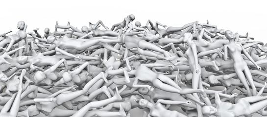 Female mannequins pile