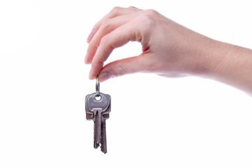 Schlüssel zwischen zwei Fingern