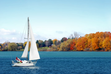 Canadian sailboat in the autumn