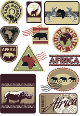 Africa wildlife labels and stamps