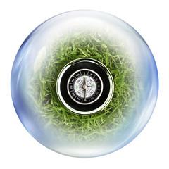 compass inside bubble