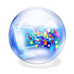 data screen glass ball