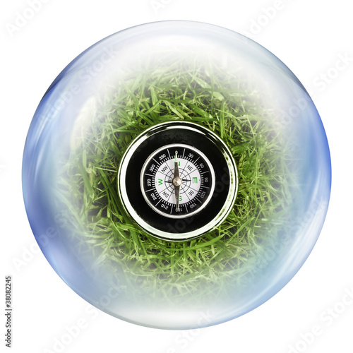 compass inside bubble