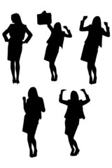 black silhouettes of ecstatic businesswoman