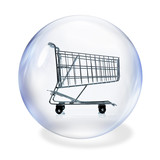 shopping basket in bubble