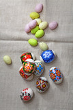 Easter Eggs on linen fabric