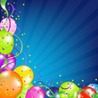 Birthday Background With Balloons And Sunburst