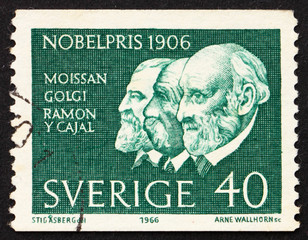 Postage stamp Sweden 1966 Moissan, Golgi and Ramon y Cayal