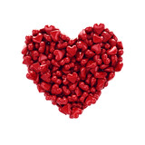 Heart made of little red hearts , isolated on white