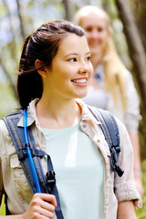 Two young women hiking outdoors