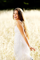 carefree girl in field