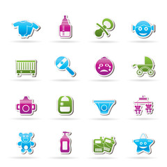 Baby, children and toys icons - vector icon set