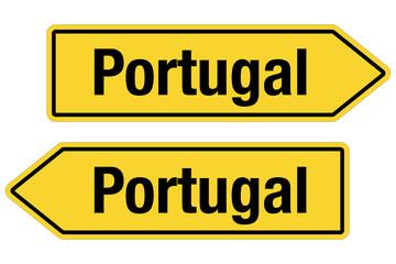 2 Pfeilschilder gelb PORTUGAL