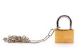 Padlock with chain link on white background