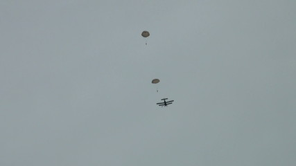 Parachutists in the air