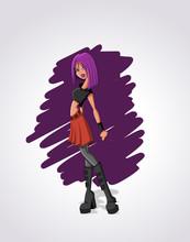 Belle Fille sexy de dessin animé rock aux cheveux violets