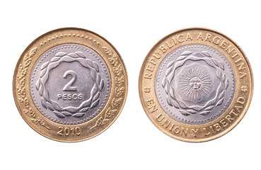 Argentina, 2010 bicentenary anniversary coin, clipping path.