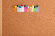 Cork board and colorful heading for ten letter word