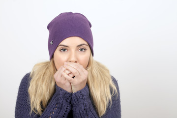 A young woman has a cold