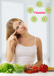 beautiful  young woman   with  vegetables choose foods rich in v