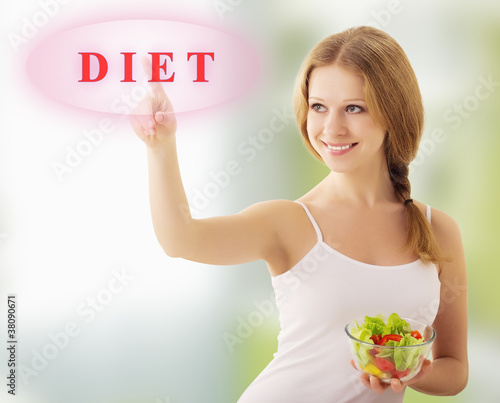 beautiful girl  with vegetable salad choose diet