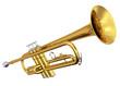 Leinwandbild Motiv Brass trumpet on white background