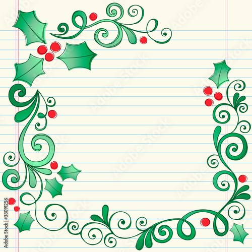 Holly Berry Border Christmas holly berry and