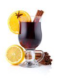 Mulled wine with spices isolated on white