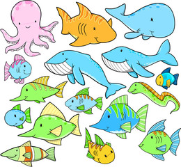 Ocean Sea Animals Summer Vector Design Set