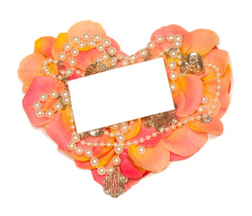 rose heart with  banner to write it on your text and beads