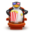 3d Penguin eats popcorn watching a 3d movie
