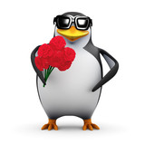 3d Penguin romantically offers a bunch of flowers