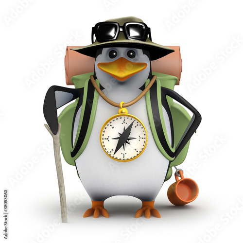 3d Penguin sets off on a great hike in the outdoors