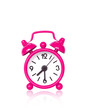 Pink alarm clock on white background with copy space