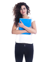 Beautiful young woman with a folder