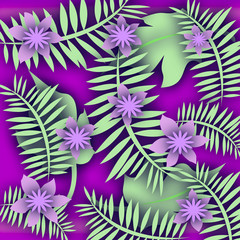 purple floral tropical