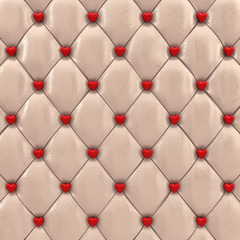 Beige upholstery pattern with red hearts