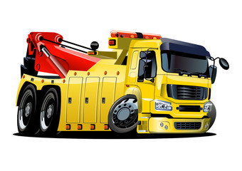 Vector cartoon tow truck. One-click repaint