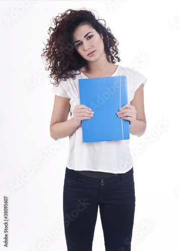 Young woman with a blue folder
