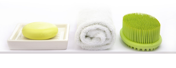 Green Soap  with green rubber brush