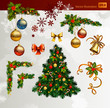 Christmas vector set of fir tree