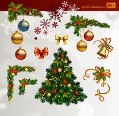 Christmas vector set of fir tree