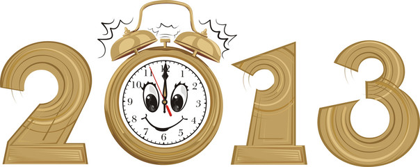 2013 - new year and alarm clock