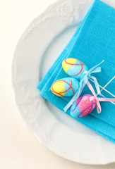 Place setting for Easter elegant and blue