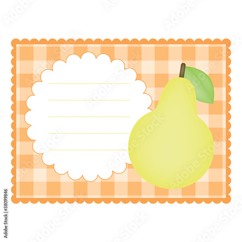 Blank checkered card with pear