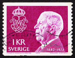 Postage stamp Sweden 1973 King Gustaf VI Adolf