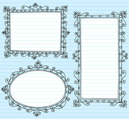 Picture Frames Borders Notebook Doodle Set