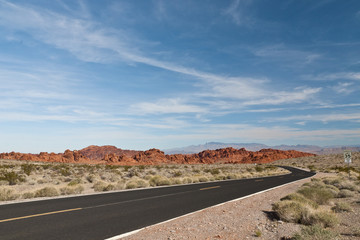 A road  into Valley of Fire State Park.