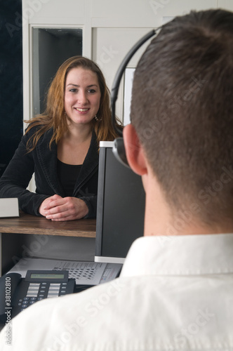 Customer at a service desk