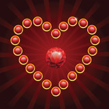 heart shape made from red diamonds - vector illustration